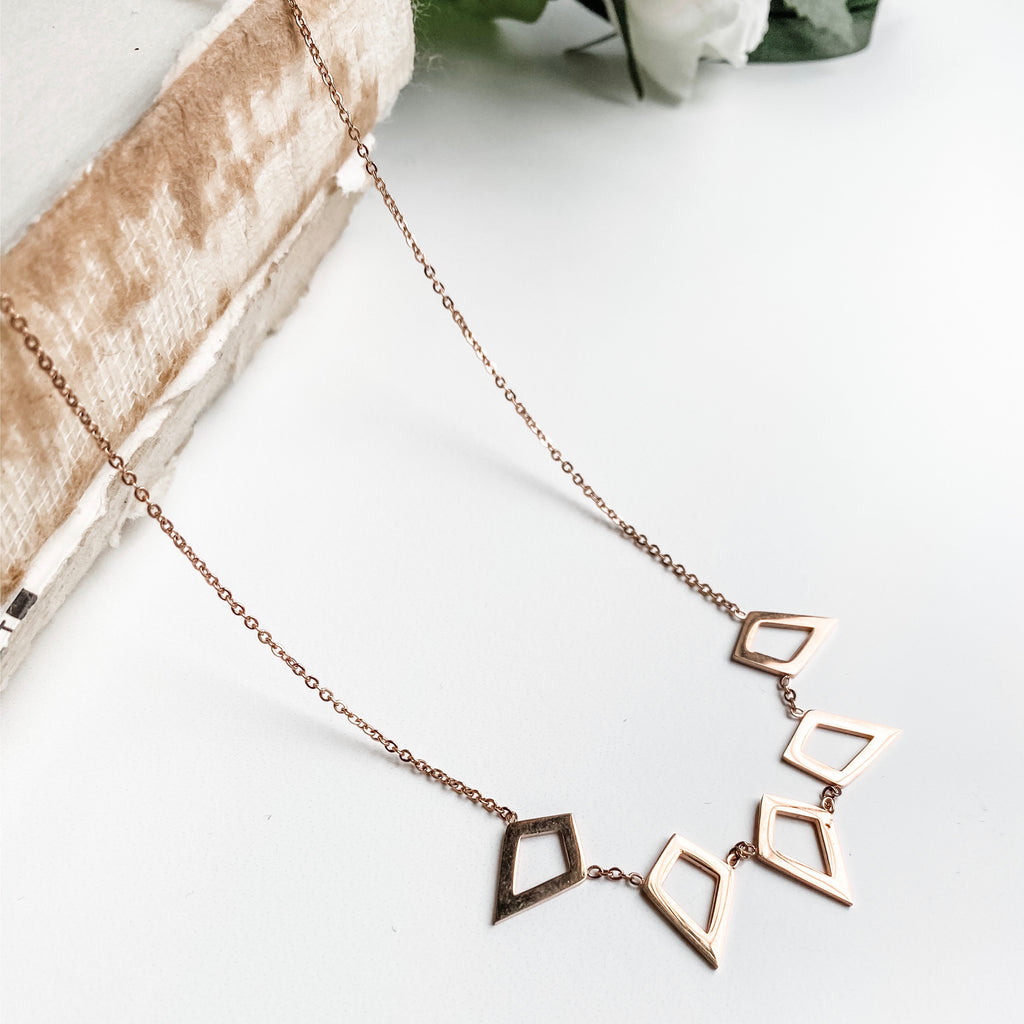 Rose gold necklace with open geometric shapes, stainless steel