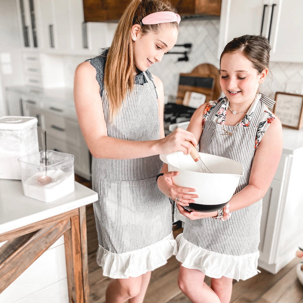 Stripe apron with ruffle, in Adult and Child size!