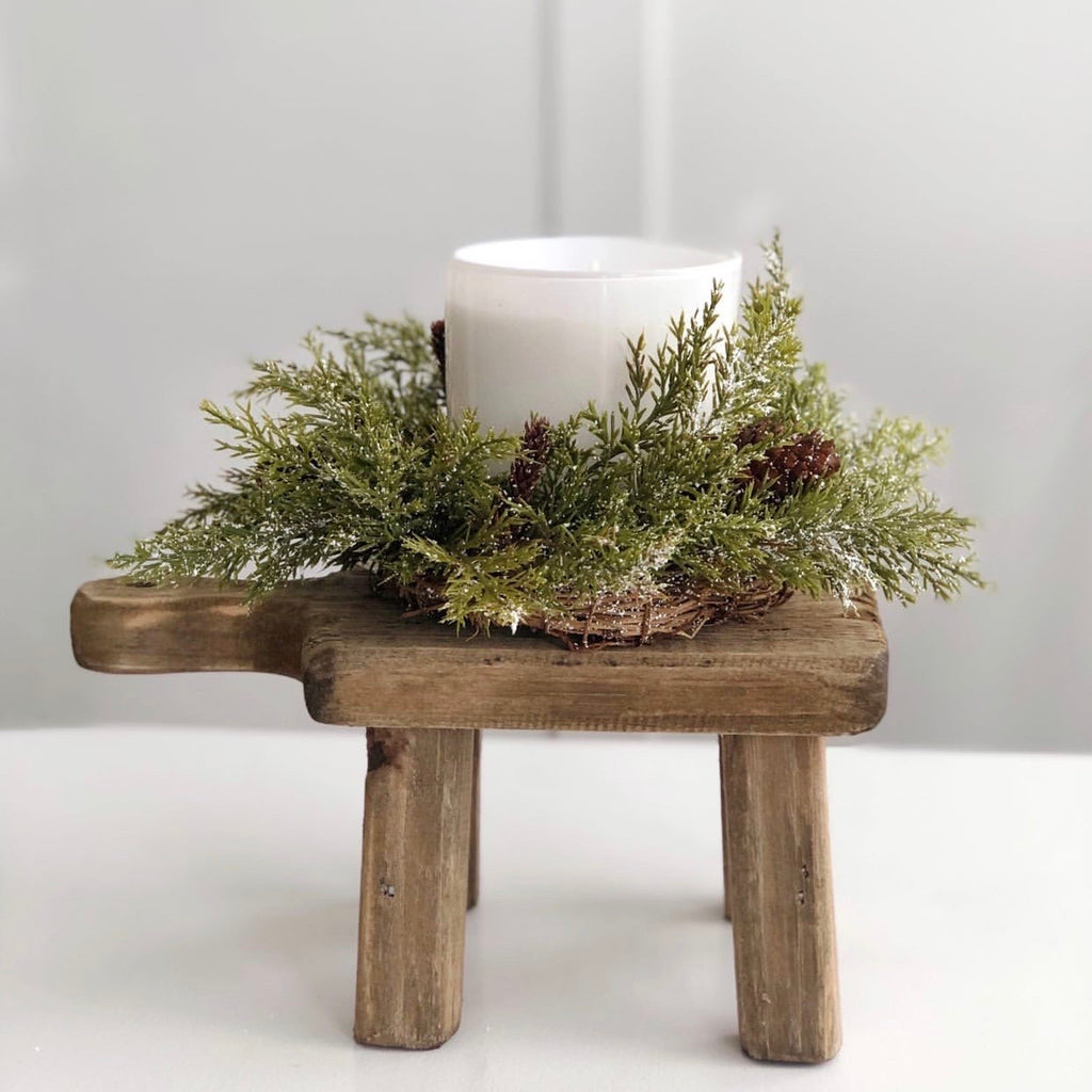 Snowy pine candle ring, 9""
