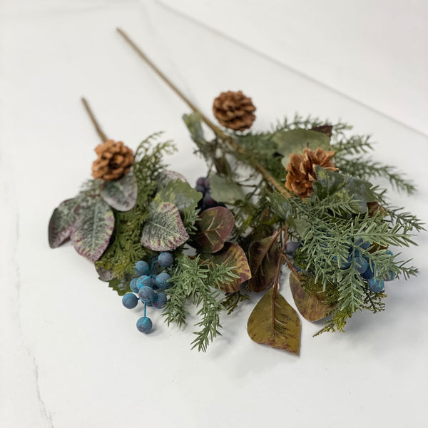 Autumn leaves with cone and berries pick, available in two sizes