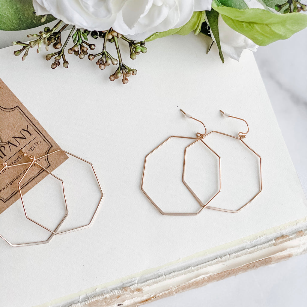 Modern polygon shaped earrings, in Gold or Silver