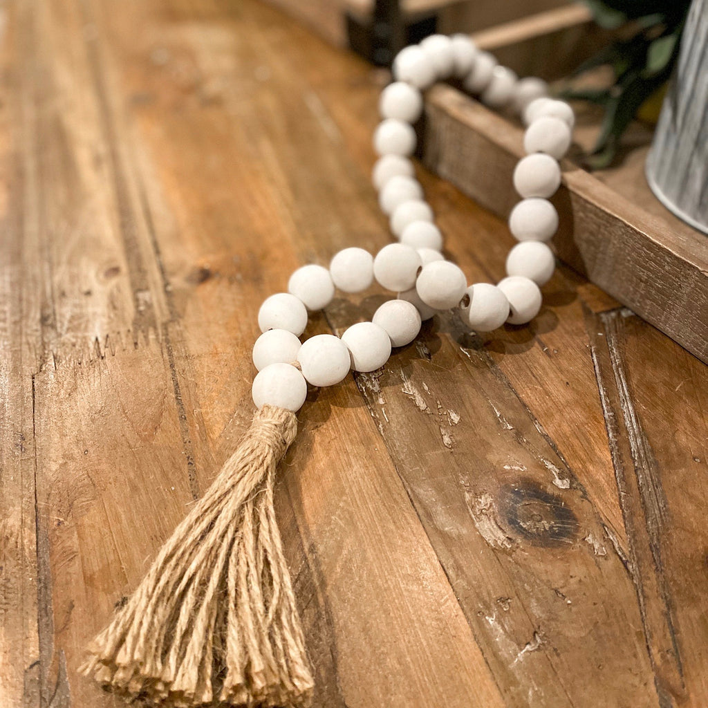 White beaded tassel, available in two sizes!