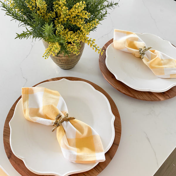 Yellow and White Buffalo Check Napkin, set of six
