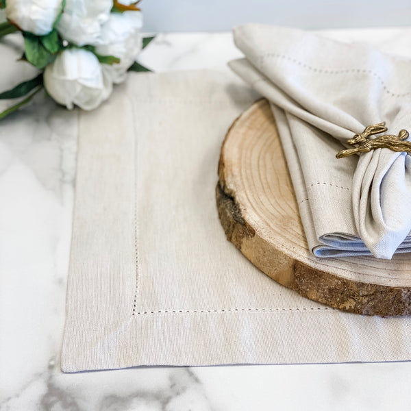 Hemstitch placemats, available in two colors