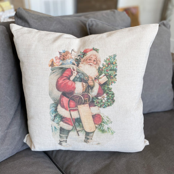 Father Christmas cottage pillow, 20""