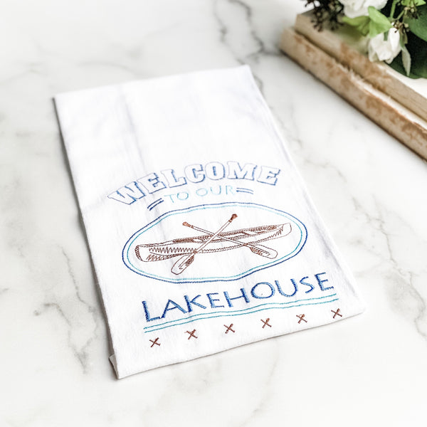 """Welcome to our lake house"" tea towel"