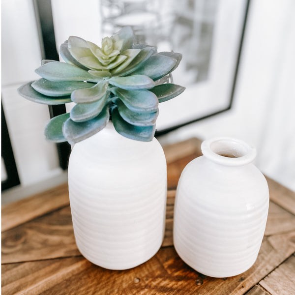 Matte finish white vase, available in two sizes