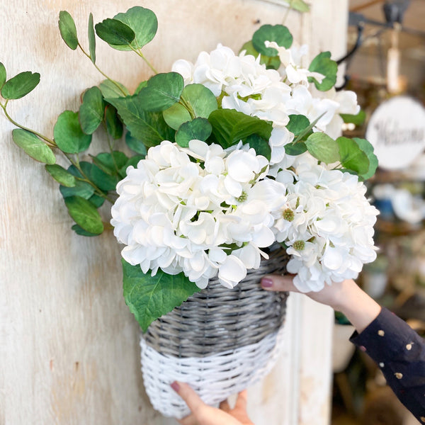"20"" Hydrangea stem, white (real-touch)"