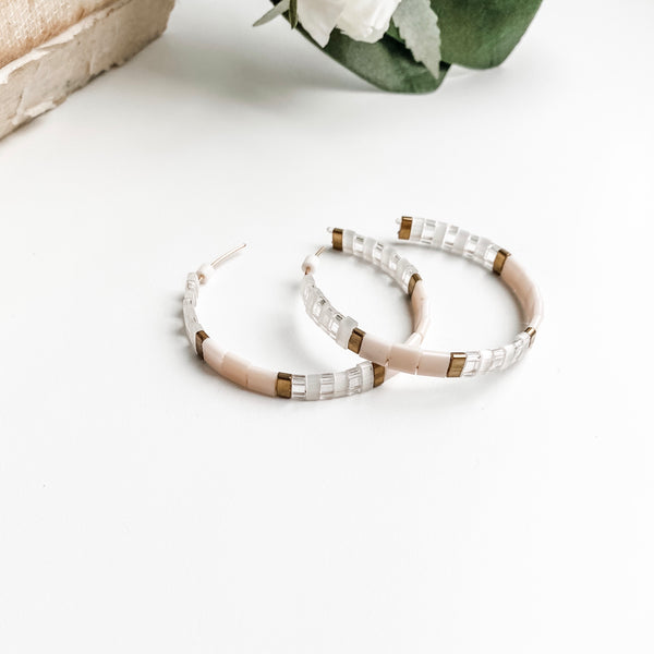Flat beaded hoop earrings