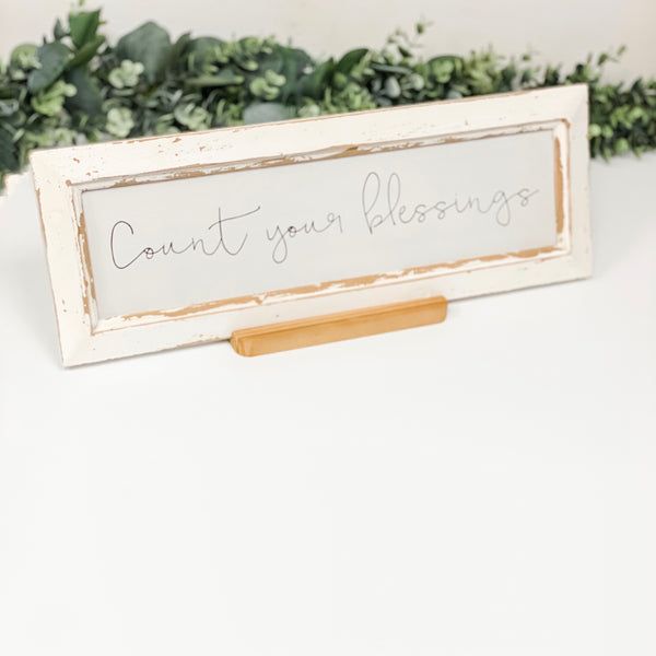 """Count Your Blessings"" Sign With Stand"