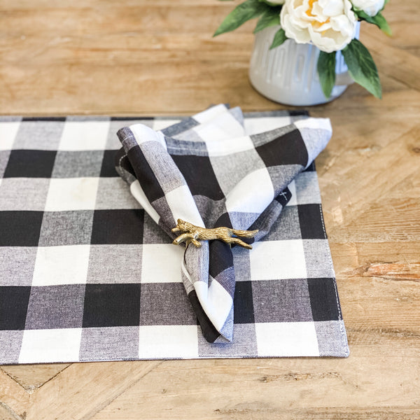 Black and white buffalo check placemats, set of four