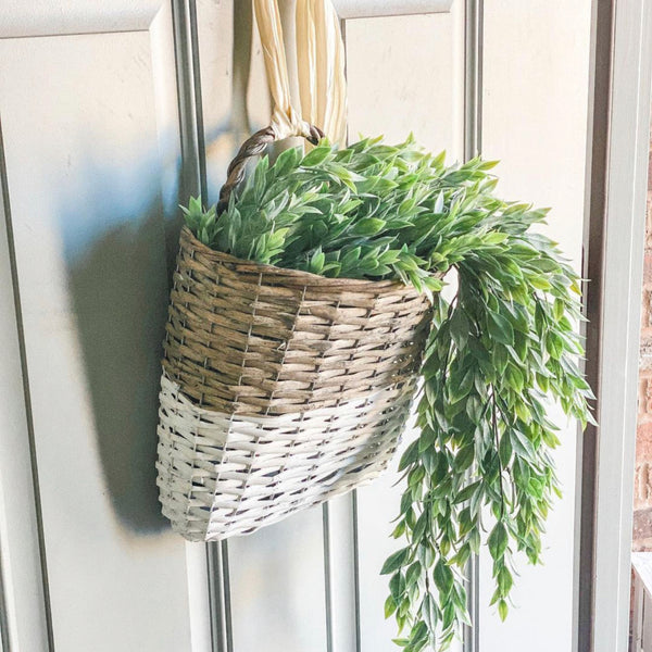 Wicker wall basket, set of two