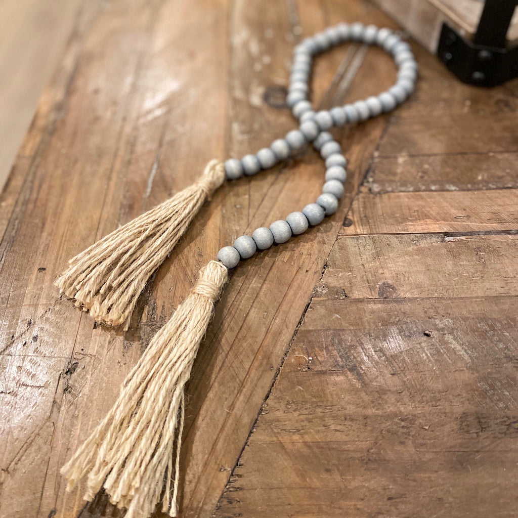 Grey beaded tassel strand, available in two sizes!