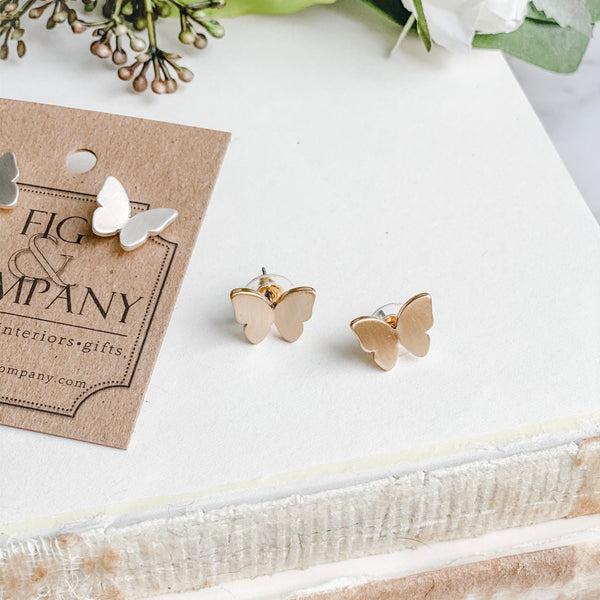 Butterfly earrings, available in silver or gold