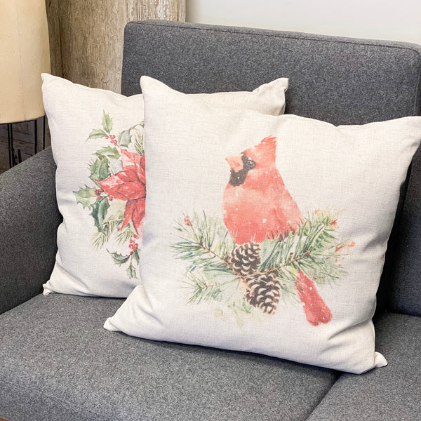Red cardinal cottage pillow, 20""