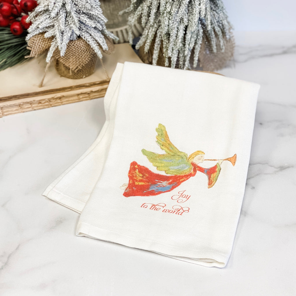 """Joy to the World"" with red angel teatowel"