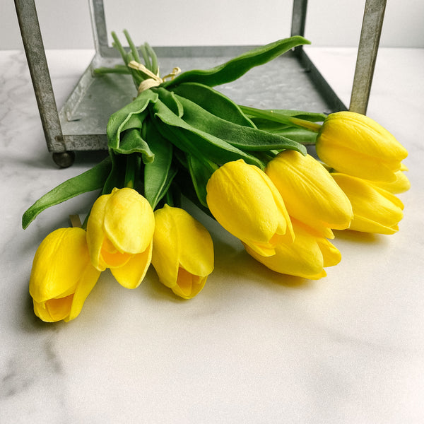 Yellow real touch tulips, nine stem bundle!