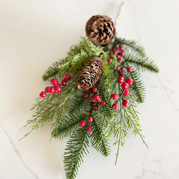 Pine Cone & Berry Greenery Pick, 20""