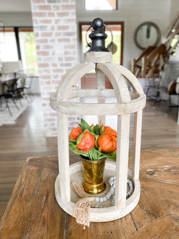Ornate wooden open lantern, 18""