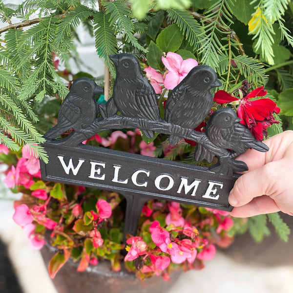 """Welcome"" stake with birds, 11"""