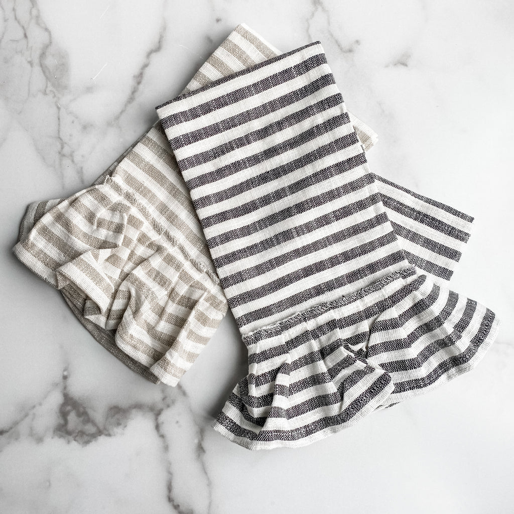 Set of two striped tea towels with ruffle