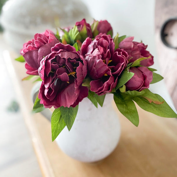 Deep maroon peony bundle, real touch