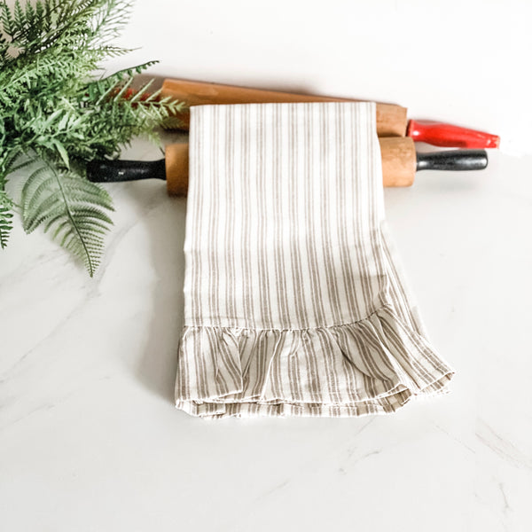 Taupe and White Stripe Hand Towel