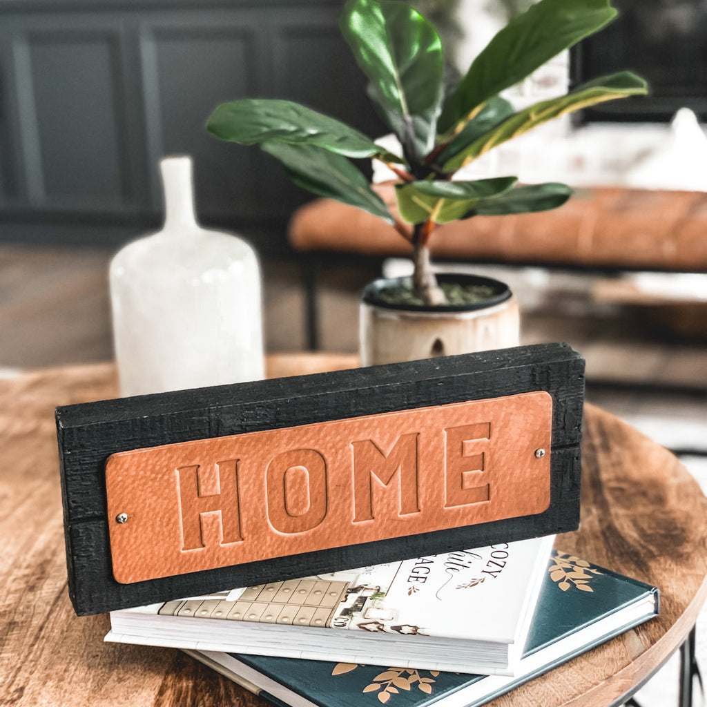 "Leather and Wood  ""Home"" Sign"