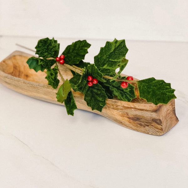 Velvet holly & berry stem, 24""
