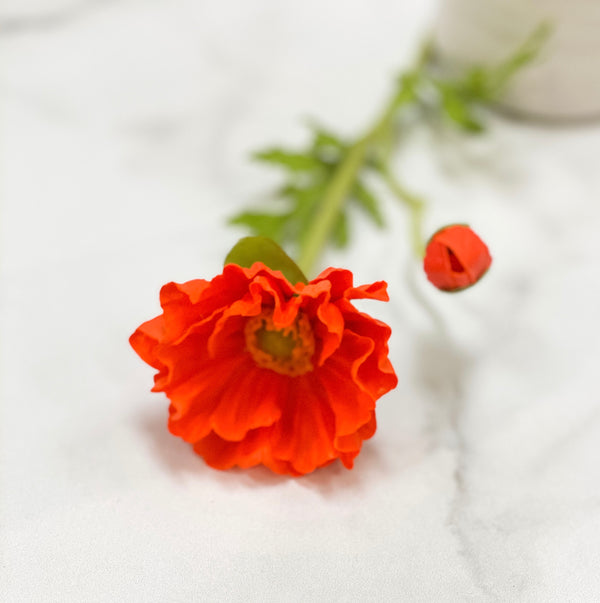 Red poppy floral stem