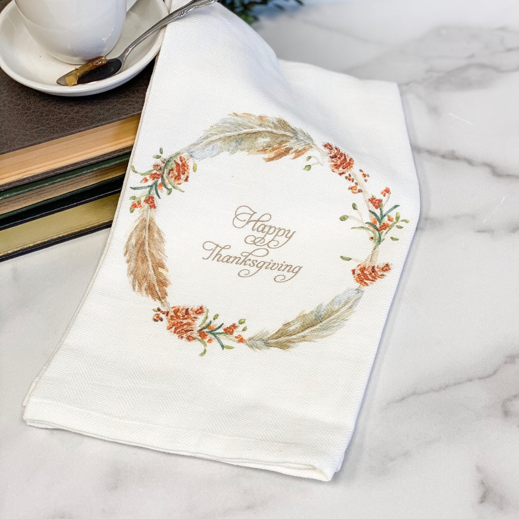 "Feather Wreath teatowel ""Happy Thanksgiving"""
