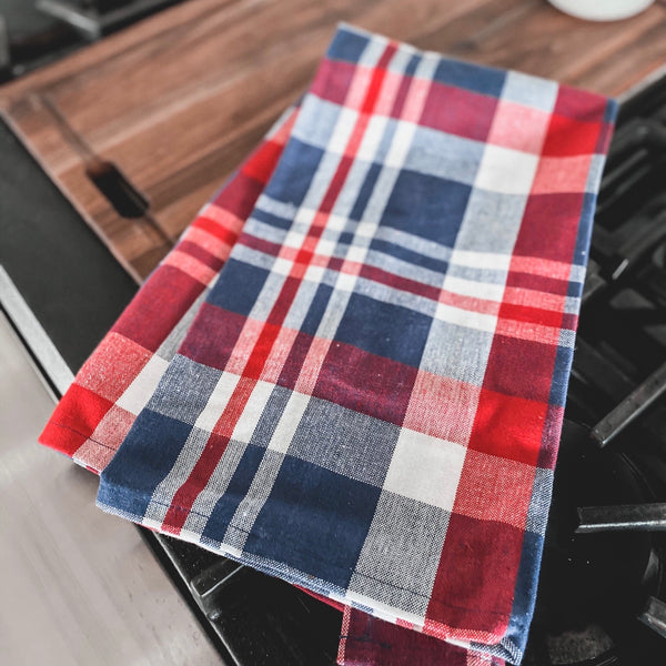 Red, White and Blue plaid tea towel