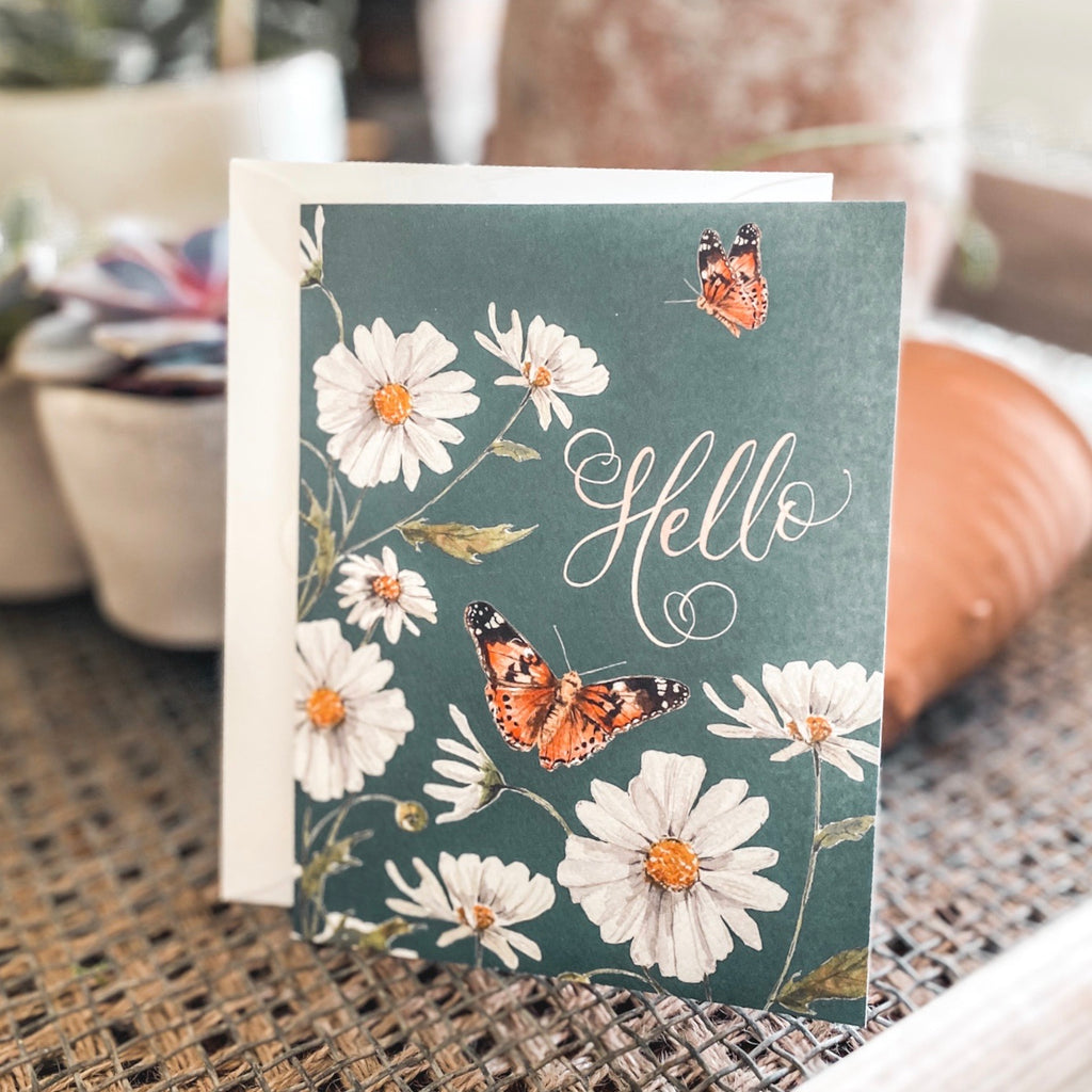 "Butterfly ""Hello"" greeting card"