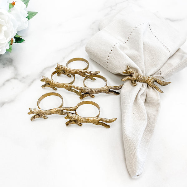Brass Napkin Rings, set of six