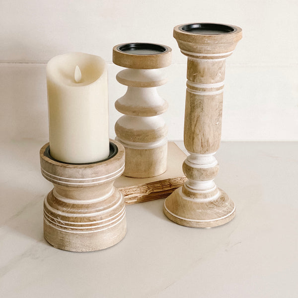 White washed carved wood candle holder, 6""
