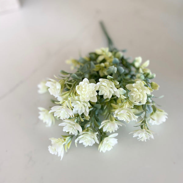 Cream and Green Floral Stem, 13""