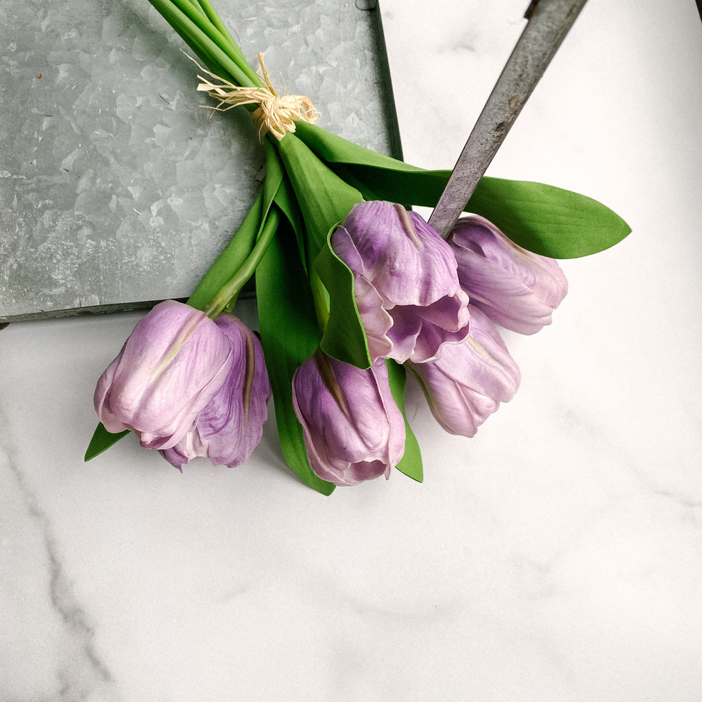 Bundle of real touch violet tulips (6 stems per bundle)