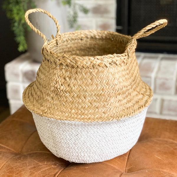 Seagrass Basket with handles, available in two styles