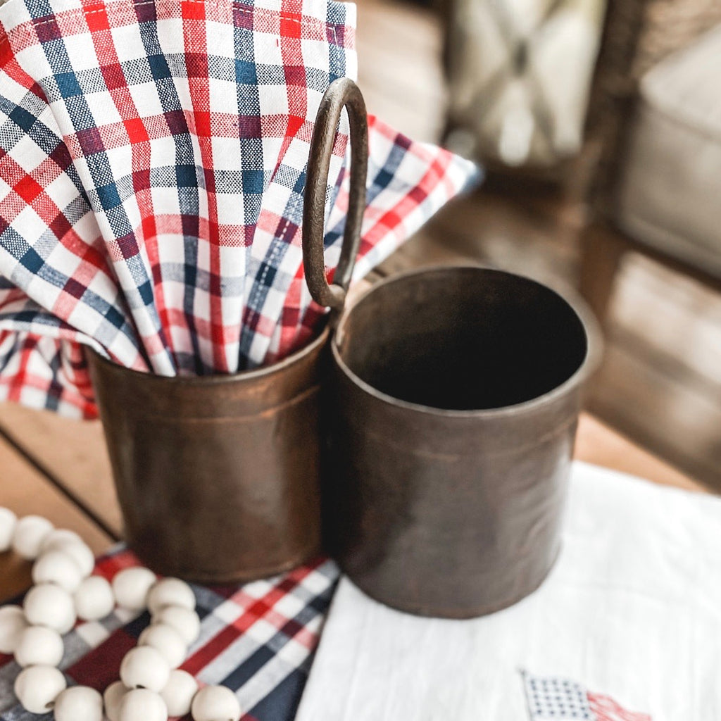 Rustic tin double caddy