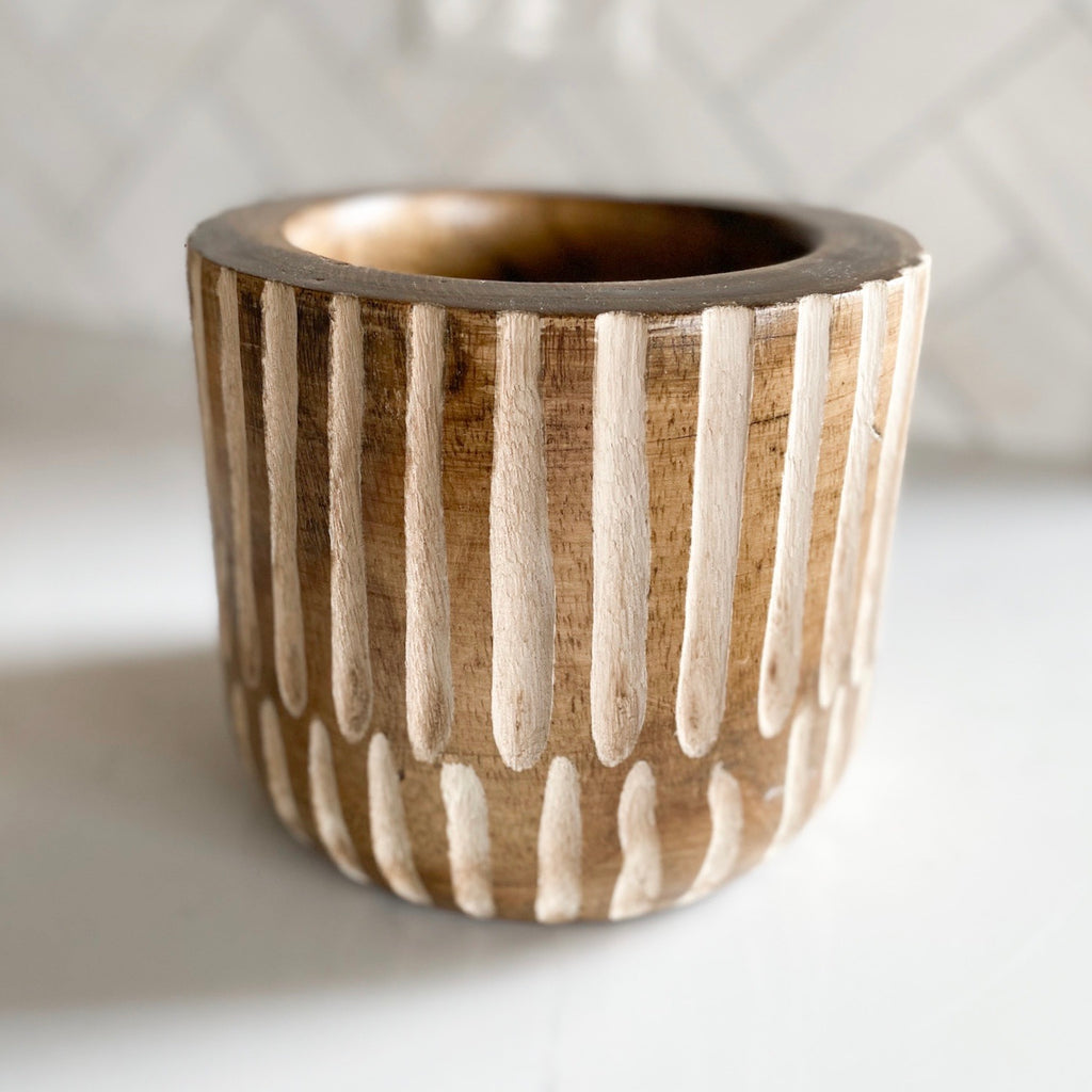 Carved wood planter pot