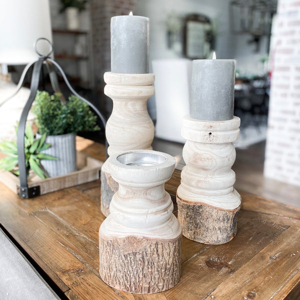 Log candle holder pillar, available in three sizes!