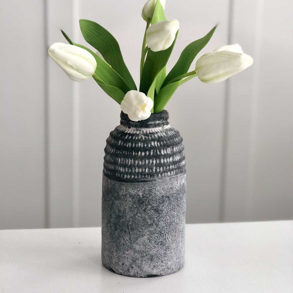 Charcoal Carved vase, available in two sizes