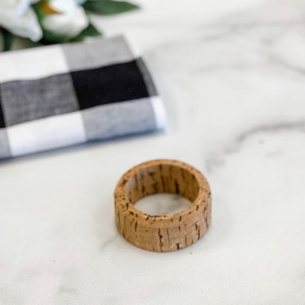 Cork napkin rings, set of six