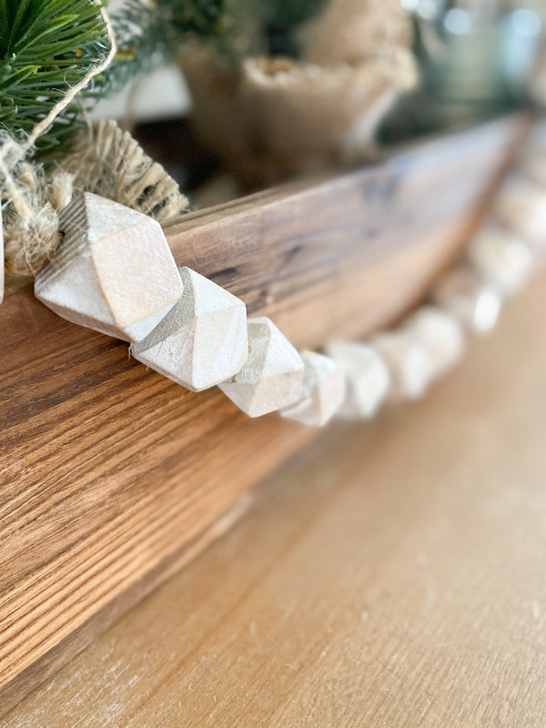 White-washed geometric beaded garland, 39""