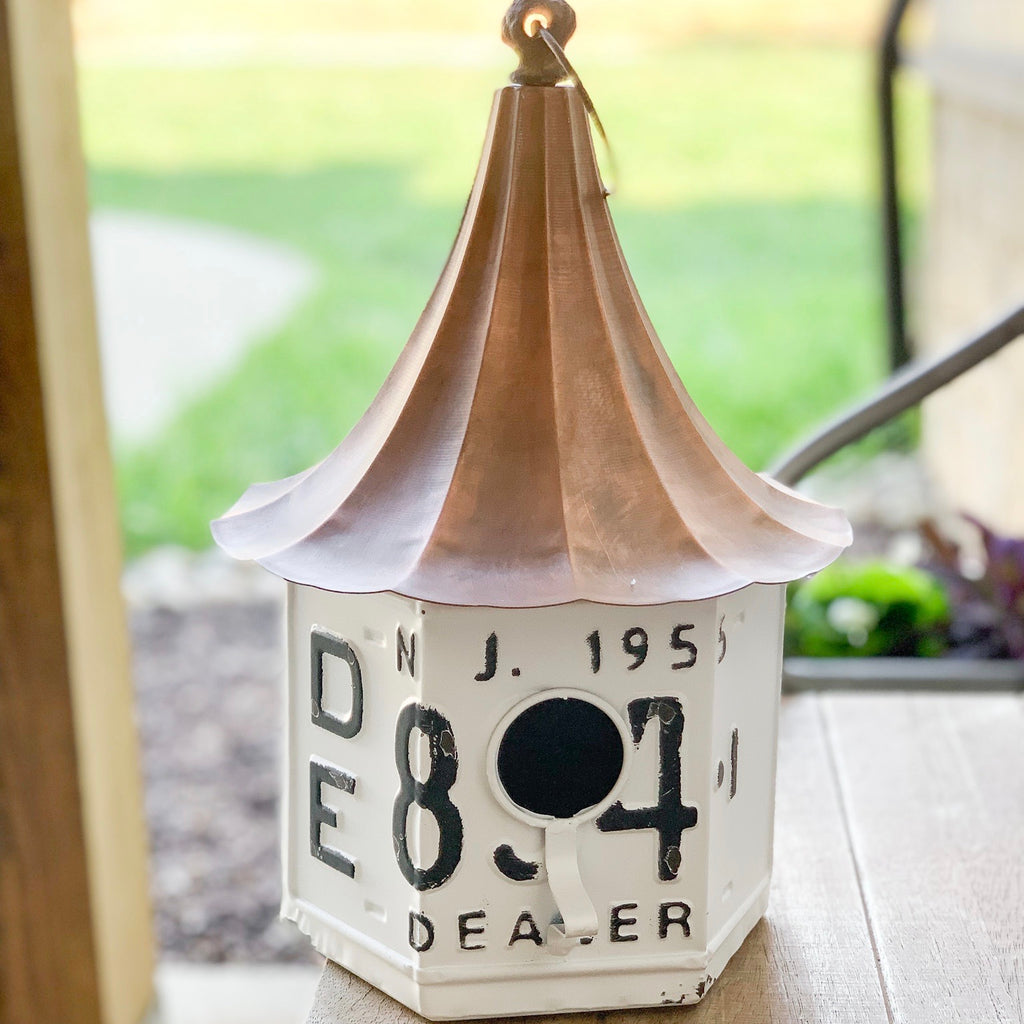 "13"" White metal and copper birdhouse"