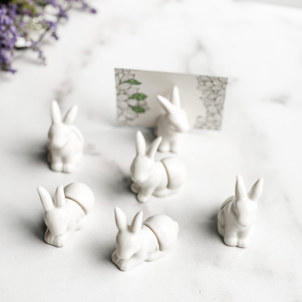 Set of 6 bunny placecard holders