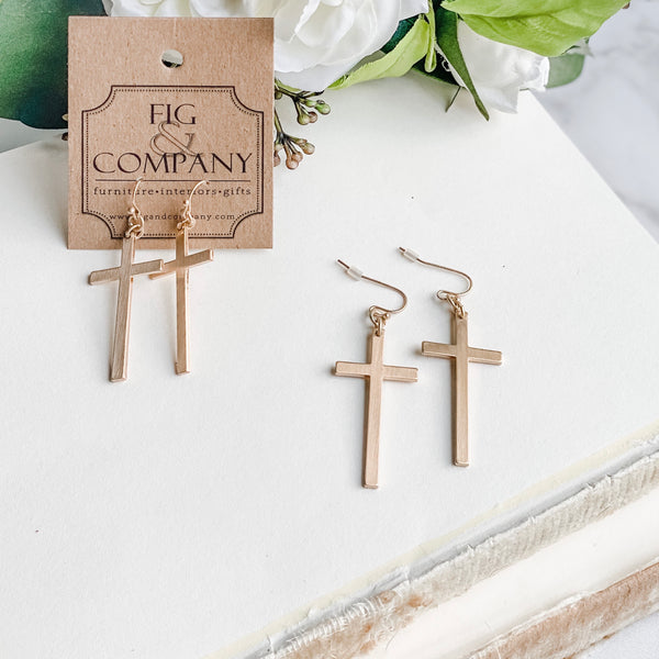Cross earrings, in gold or silver