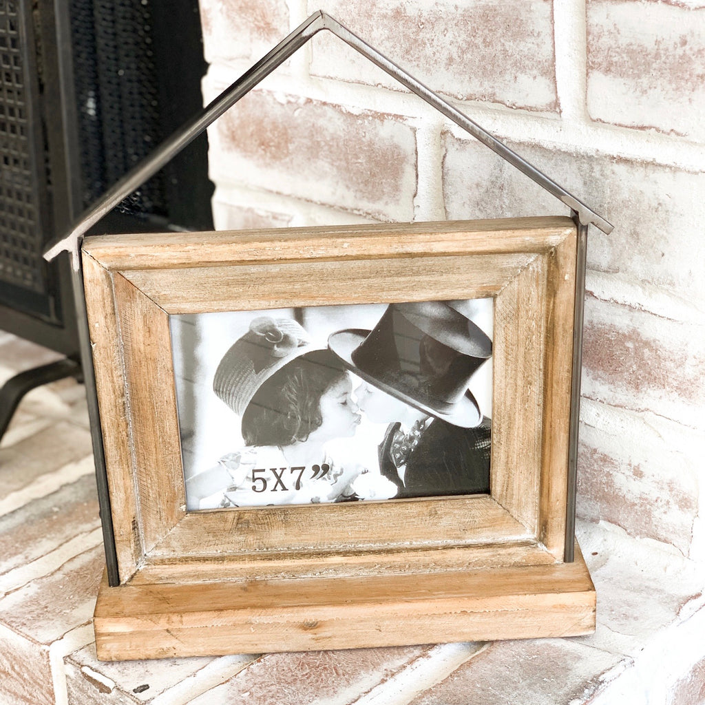 Wood and metal House picture frame