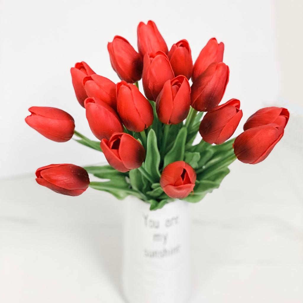 Red real touch tulips, nine stem bundle!