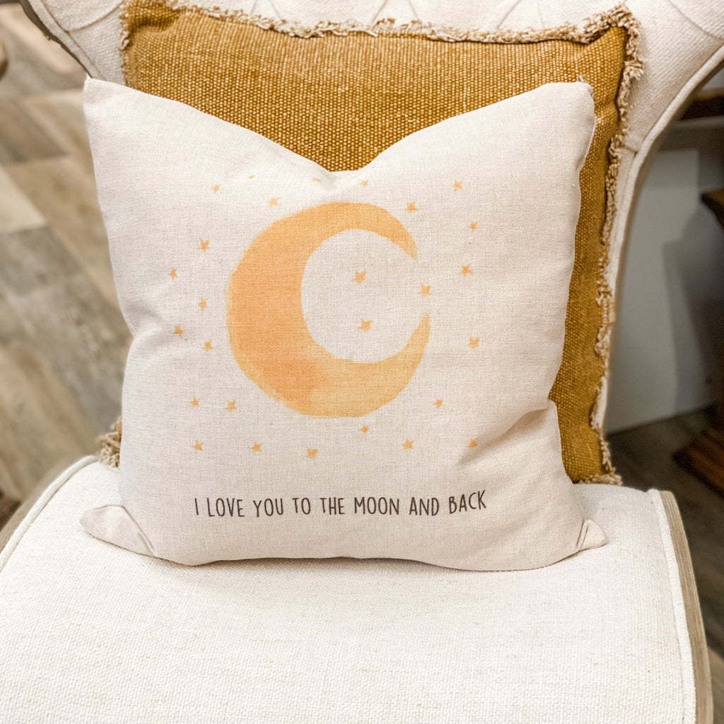 """Moon and back"" cottage pillow, 20"""